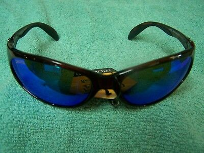 Calcutta Smoker Tortoise Frame Blue Mirror Polarized Lens Sunglasses New