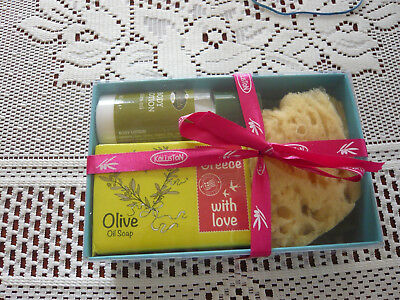 Gift Box Of Olive Oil Soap Lotion And Natural Sponge