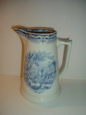 Antique Blue and White Transferware Wild Horse Pitcher
