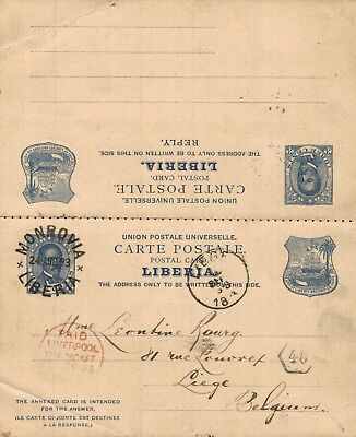 LIBERIA used Postal STATIONERY CARD + REPLY CARD - RC-1 - 1893 to BELGIUM LIEGE
