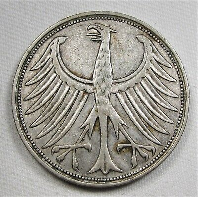 1957-J Germany 5 Mark .625 Silver VF Coin AE338