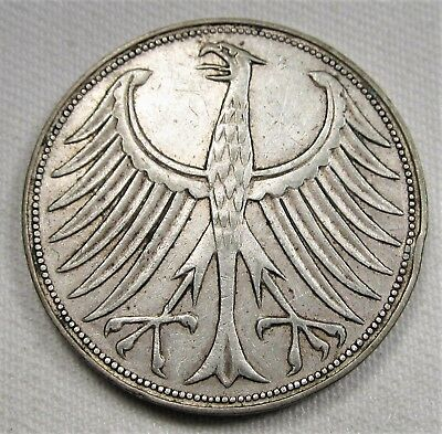 1957-F Germany 5 Mark .625 Silver VF Coin AE339