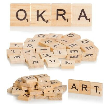 Wooden Scrabble Letters 100 Wood Craft Tiles Black Word Alphabet Board Game