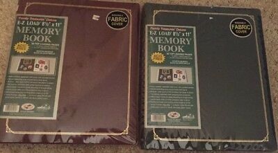 "Lot Of Two 8 1/2"" X 11"" Deluxe Memory Book By Family Treasures Fabric Cover NWT"