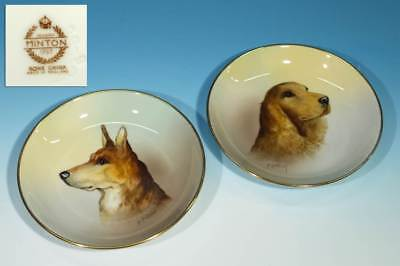 Beautiful Pair of Vintage Signed Minton China Dog Pin Dishes by Arthur Holland.