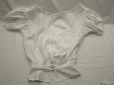 vintage fine white cotton bohemian hippy chic style pretty bodice blouse .