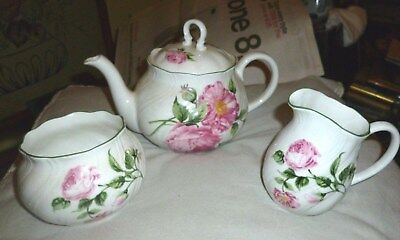 National Trust  3-Piece  Tea Set Very Pretty Mottisfont Roses - Rosina China