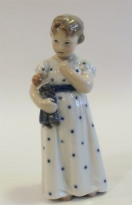 "Royal Copenhagen Porcelain Figurine #1021-146 ""Girl w/Doll"" 6"" in Box"