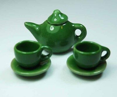 5-Piece Dollhouse Miniature Green Ceramic Tea Set * Doll Mini Cup Teapot Saucer