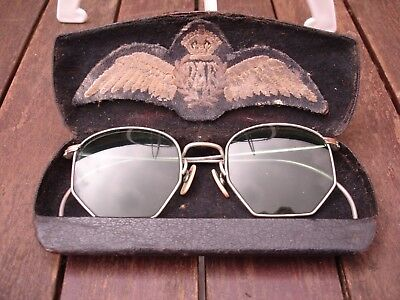 WW2 RAF Pilots American Optical FUL-VUE Sunglasses & Pilot wings Found Together