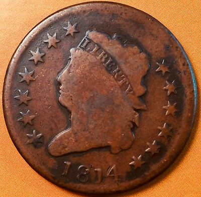 1814 Classic Head Large One Cent Coin !