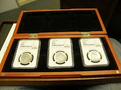 Ncg Ms64 & 65 Set (3) 1937 Pds Texas Silver Half Dollar Commemoratives In Case