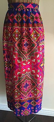 Vintage 70's Alice of California Psychedelic Gypsy Maxi Wrap Skirt One Size