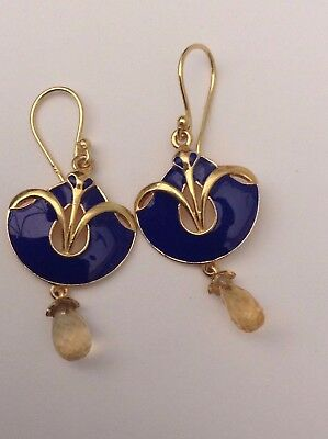 Silver Art Nouveau Style Earrings Citrine Droppers Incredible