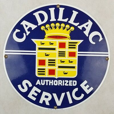 Cadillac Authorized Service Advertising Sign by Ande Rooney Porcelain Enamel