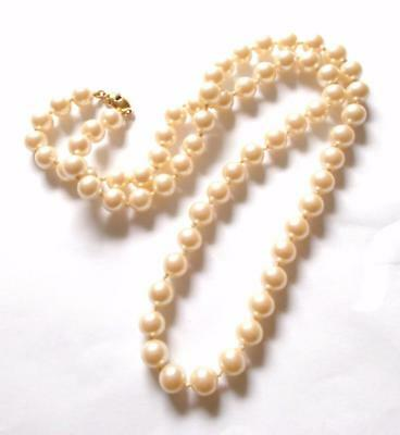 Vintage 1970's Monet Cream Glass Pearl Beads Knotted Beaded Gold Tone Necklace