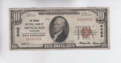 National Currency $10 1929-I Milwaukee, WI  vg-f stains