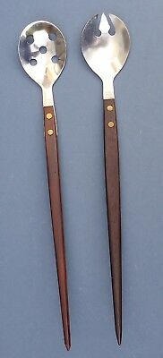 Gorgeous Pair Mid Century Salad Servers 1960s/70s Scandinavian Danish Teak Steel