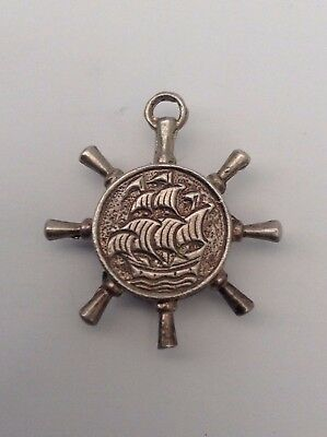 Silver Old Compass Charm With The Ships Wheel Design Fabulous