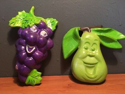 LOT of 2 VINTAGE CHALKWARE GRAPE AND PEAR WITH FACES