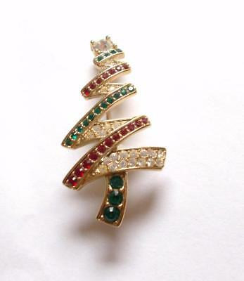 Vintage 80's Signed Monet Red Green Clear Glass Crystal Christmas Tree Brooch
