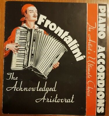 Frontalini Accordion Brochure 1930, model no. 500 501 399 400 Advertising Poster