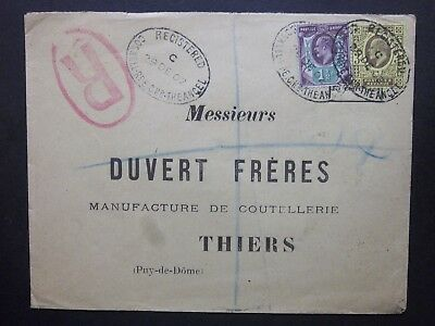 1902 KEVII 3d + 11/2d Cover REGISTERED COSWELL RD E.C. THE ANGEL ovals to France