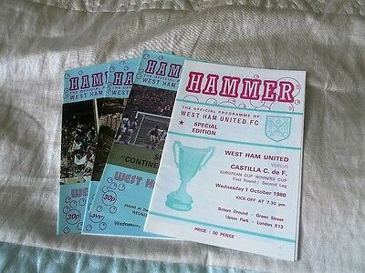 4 West Ham United Programmes From The 1980/1 Ecwc Run