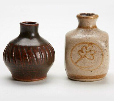 Two Vintage Studio Pottery Small Vases In Brown Glazes 20 C