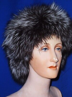 Magnificent Real Fur Natural Full Silver Platina Fox Cossack Hat-Mint Condition.