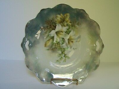 Antique White Lillies Floral Porcelain Cake Plate Hand Painted