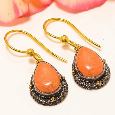 "Copper Red Turquoise 925 Silver Gold Plated Earring 1.38""(3871)"