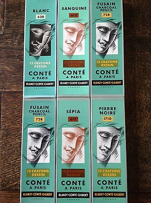 Twelve vintage Conte drawing pencils in Art Deco style box. Six different shades