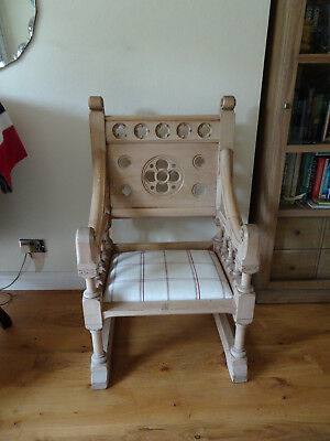 Beautiful Antique Stripped Pitched Pine Church Chair with re-covered seat pad