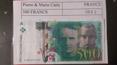French Banknote 500 Francs  Pierre & Marie Curie France 1998