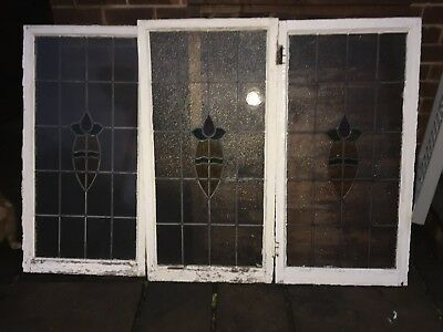 3 Old Stained Glass Windows