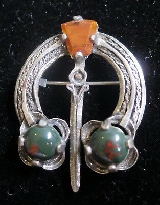 Lovely Vintage Miracle Brooch Set With Glass Stones Penannular Celtic (6990)