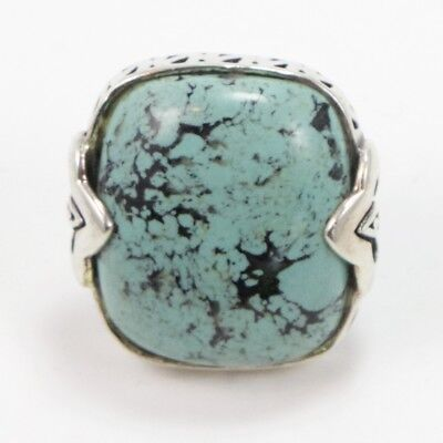 VTG Sterling Silver - Southwestern Scroll Turquoise Ring Size 6.5 - 18g