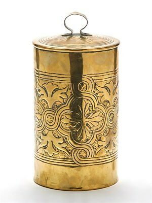 Arts & Crafts Tin Lined Brass Lidded Biscuit Jar C.1900