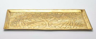 Arts & Crafts Peacocks Guarding Peach Tree Brass Tray C1900