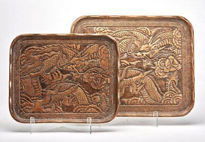 Graduated Chinese Carved Wood Dragon Trays Early 20Th C.