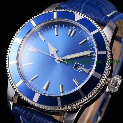 46mm Sterile Dial Rotatable Bezel Leather Straps Automatic Watches WBA4601SLL02