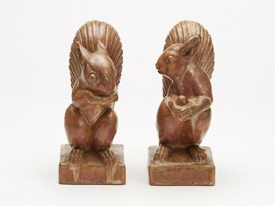 PAIR DOULTON LAMBETH SQUIRREL BOOK ENDS F JONES c.1915
