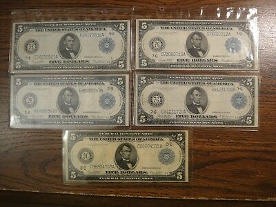 Five (5) 1914 United States Large $5 Federal Reserve Notes. Fine to Very Fine.