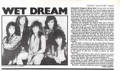 "30/8/86pg25 Album Review & Picture, Bon Jovi ""slippery When Wet"""