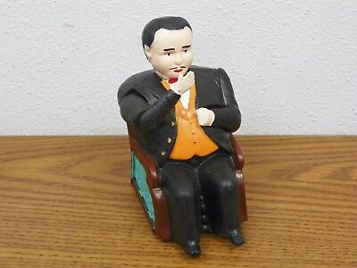 Vintage Antique Cast Iron Mechanical Coin Bank Businessman Banker Man in Chair