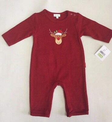 NWT Le Top Baby Boys Coverall Holiday Christmas Reindeer Red 3,6 Months