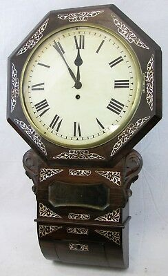 Antique Inlaid Mother Of Pearl Fusee Wall Regulator Clock