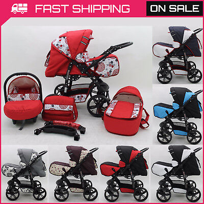Pram Pushchair Maya Lux 3in1 Stroller Buggy Travel System Foam Wheels/Covers/Bag