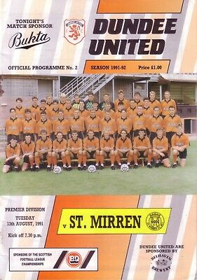 DUNDEE UNITED v ST MIRREN 1991/92 LEAGUE (AUG)
